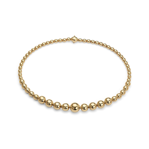 Graduated Bead Necklace in 18k Italian Yellow Gold.