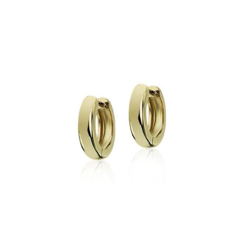 Mini Huggie Hoop Earrings in 14k Yellow Gold.