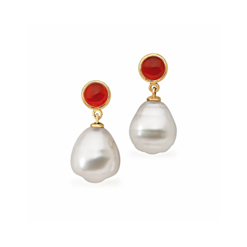 14K Yellow Gold South Sea Cultured Circle Pearl and Genuine Carnelians Earrings.