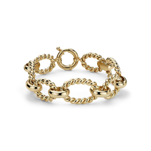Large Link Braided Bracelet in 14k Italian Yellow Gold.