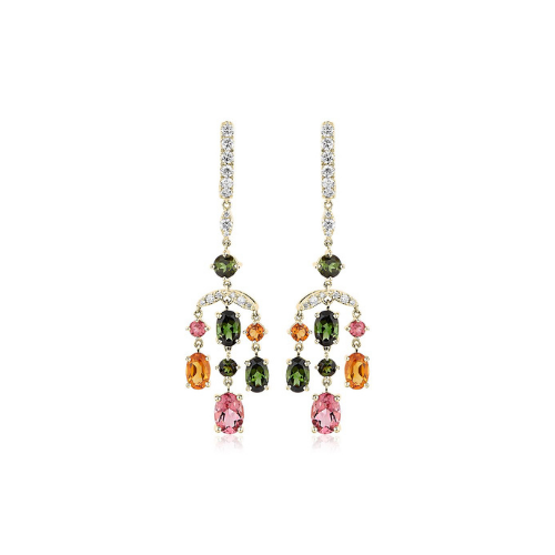 Tourmaline and Citrine Diamond Chandelier Earrings in 14k Yellow Gold.
