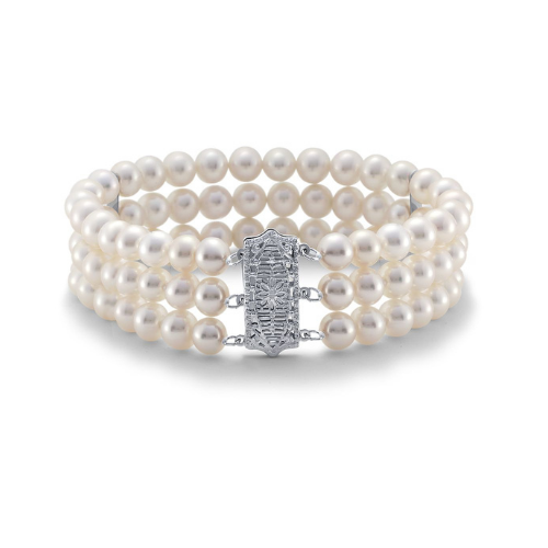 Triple-Strand Freshwater Cultured Pearl Bracelet in 14k White Gold.