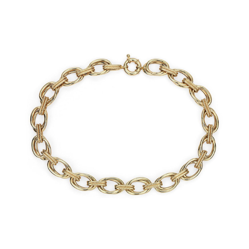 Double Link Statement Necklace with Rope Detail in 14k Italian Yellow Gold.