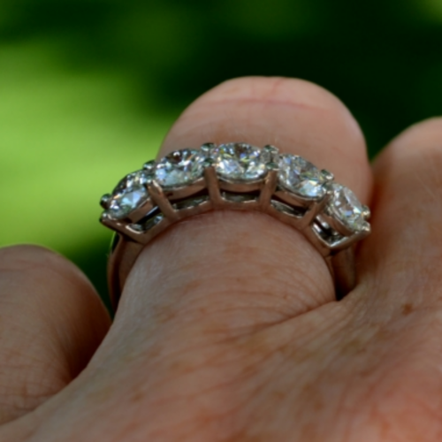3/4 profile of a five-stone diamond ring on a finger with a muted green background