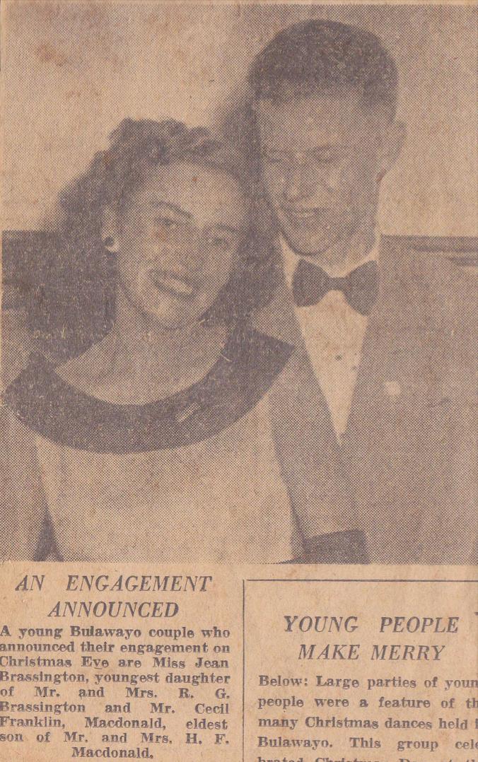 Newspaper cutting of an engagement announcement.