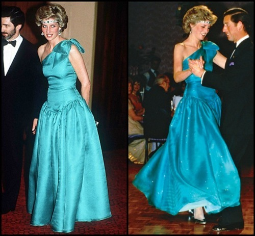 a blond woman (Diana, Princess of Wales) with an emerald headband (choker) and a turqoise off the shoulder dress, second image: same woman dancing with a man in a tuxedo