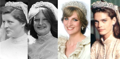 4 pictures side by side the first two are black and white the second two are in color. All brides all wearing the Spencer tiara with their veils. The 2nd from left is Diana, Princess of Wales.