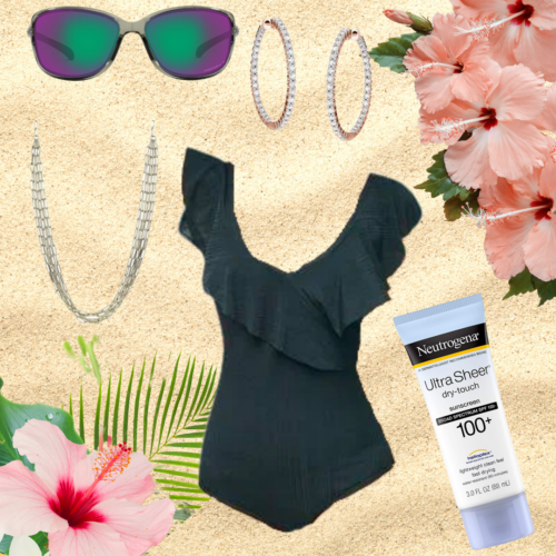Sand background with a ruffled dark forest green swimsuit, raimbowy sunglasses, gold necklace, inside out diamond hoop earrings, Neutrogena sunscreen, and pink hibiscus in 2 corners