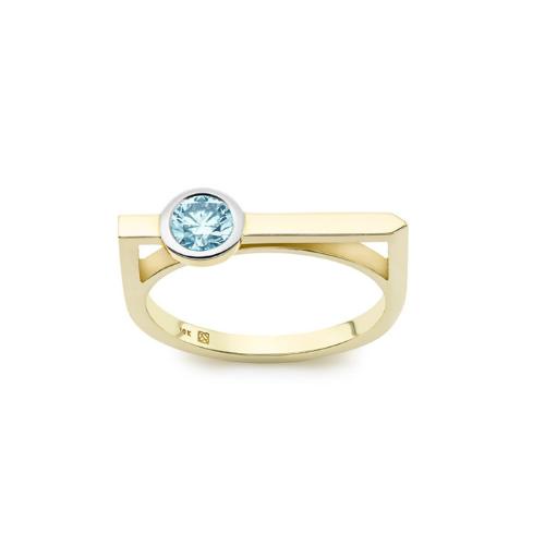 Lab-Grown Diamond Mini Round Brilliant Solitaire Linear Ring.