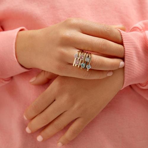 Lab-Grown Diamond Mini Princess Cut Linear Ring.