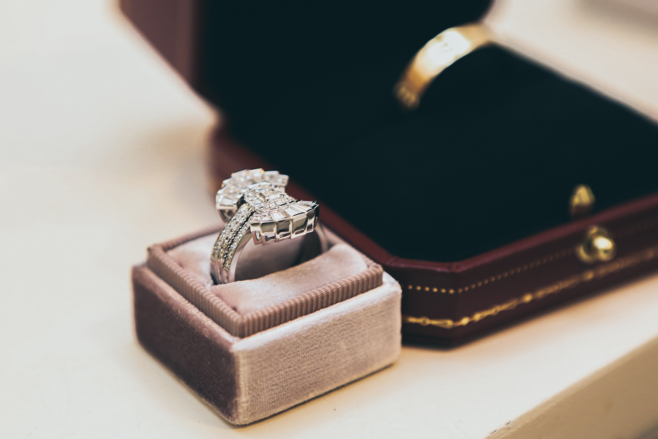 Diamond ring in suede ring box.