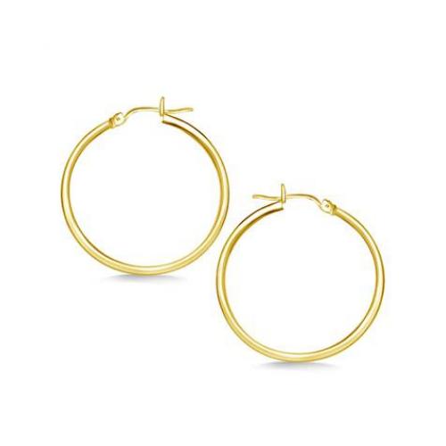 Classic Hoop Earrings in 14K Yellow Gold.