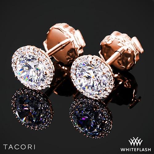 18k Rose Gold Tacori Diamond Earrings.