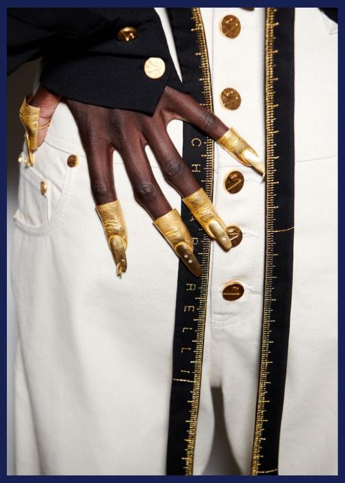 Gilded fingernails at Schiaparelli spring 2021.