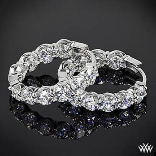 "18k White Gold ""AGBF"" Inside Out Diamond Hoop Earrings."