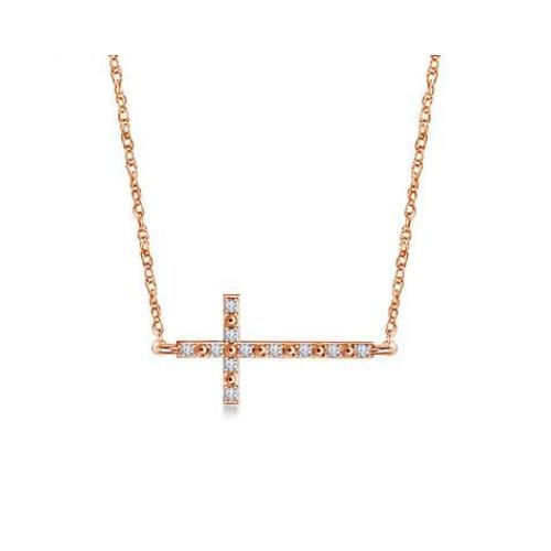 Sideways Diamond Cross pendant in 14K Rose Gold.