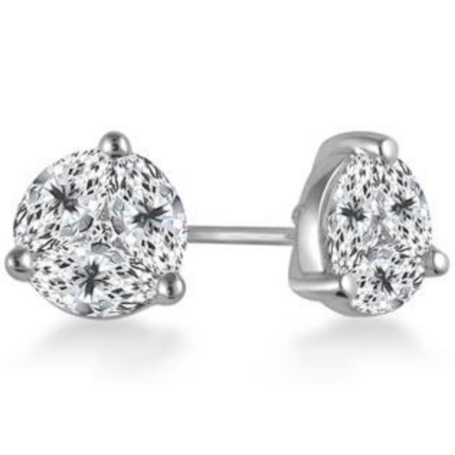 Prong Set Marquise And Round Diamond Stud Earrings in 18K White Gold from B2C Jewels