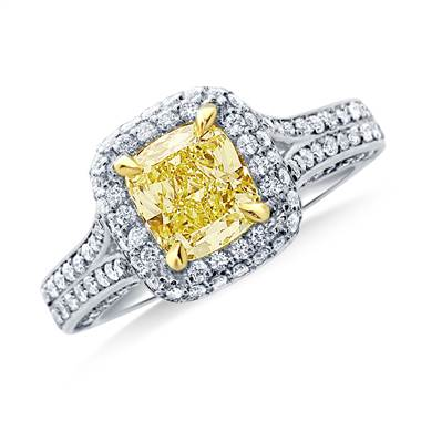 Fancy Light Yellow Canary Cushion Cut Diamond Halo Split Shank Ring in 18K White Gold.