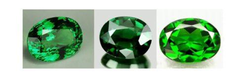Green gemstones.