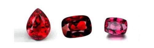 Red gemstones.