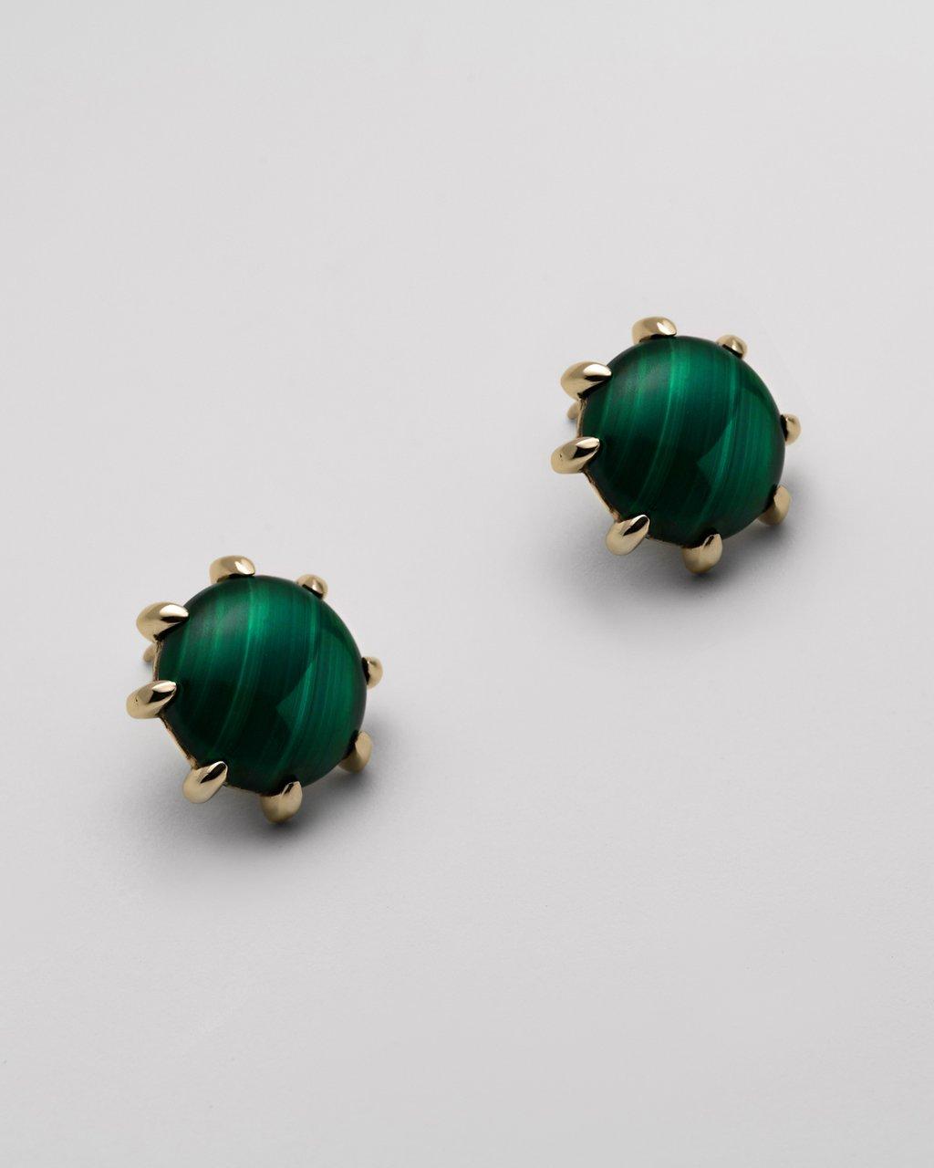 Gold Malachite Earrings.