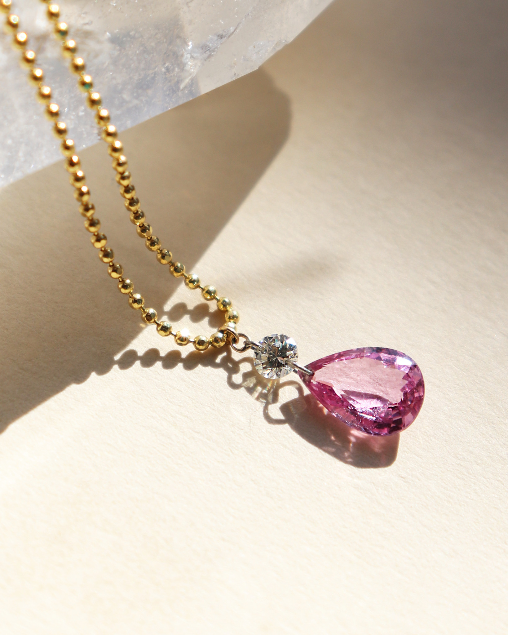 Pink Sapphire Pear Necklace.