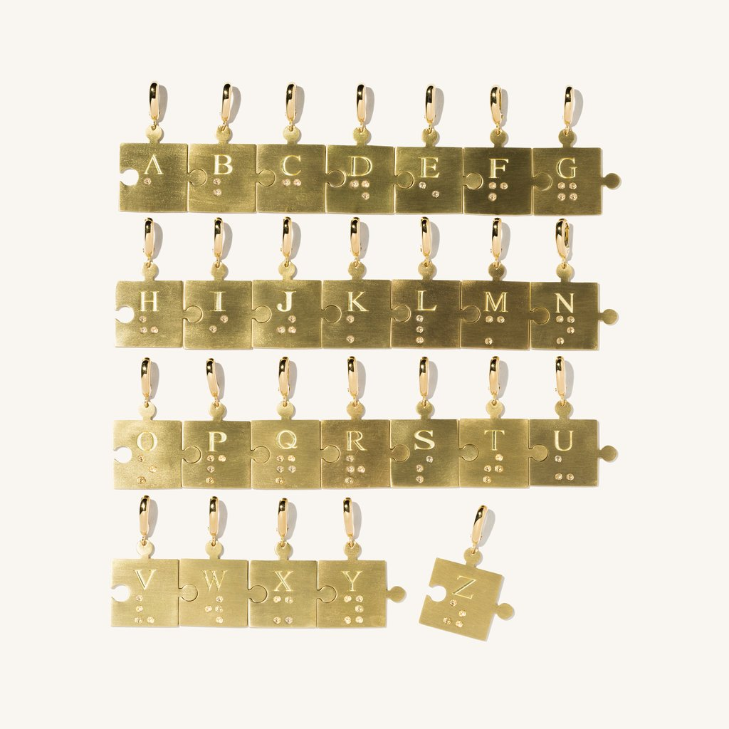 Diamond Braille Puzzle Piece Charm YG.