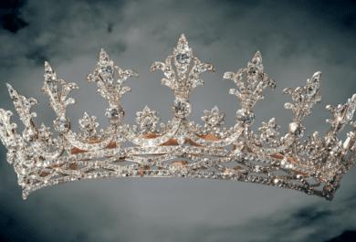 A diamond tiara set aginst a spooky dark and foggy background.