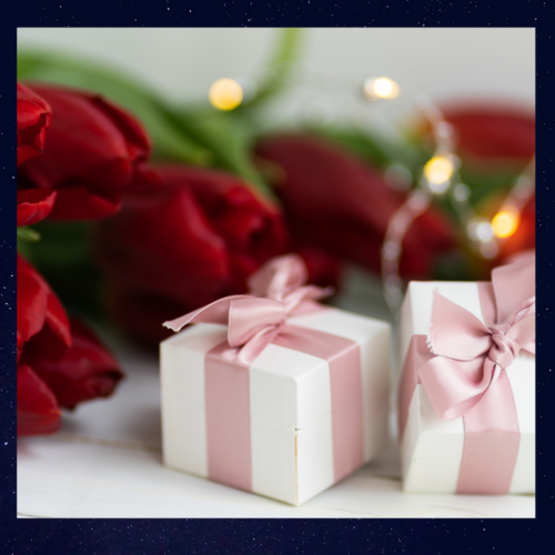 Gift boxes and roses and lights.